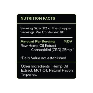 PureKana Mint CBD Oil Tincture 1000mg Supplement Facts