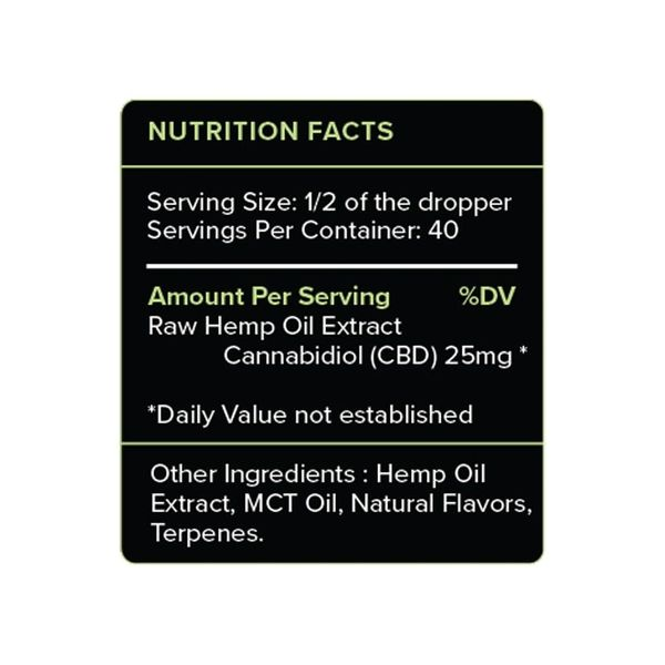 PureKana Mint CBD Oil Tincture 1000mg Supplement Facts