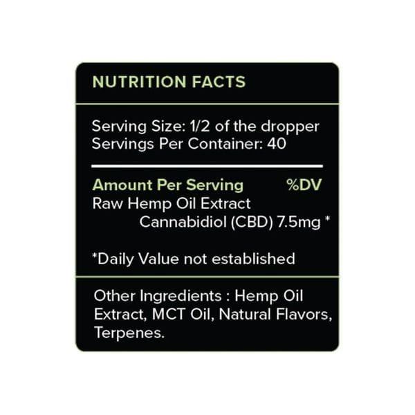 PureKana Mint CBD Oil Tincture 300mg Supplement Facts