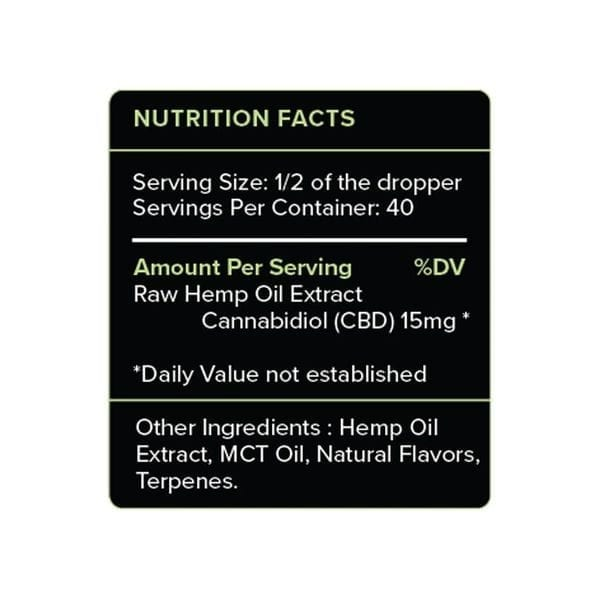 PureKana Mint CBD Oil Tincture 600mg Supplement Facts