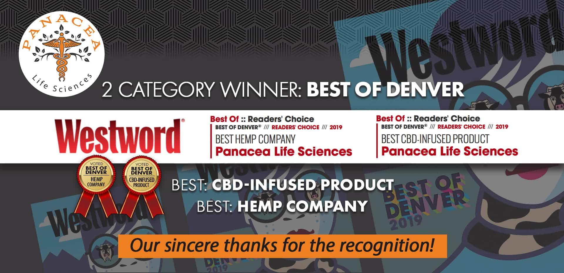 Winner Best CBD Infused Products/Best Hemp Company- Panacea Life Sciences