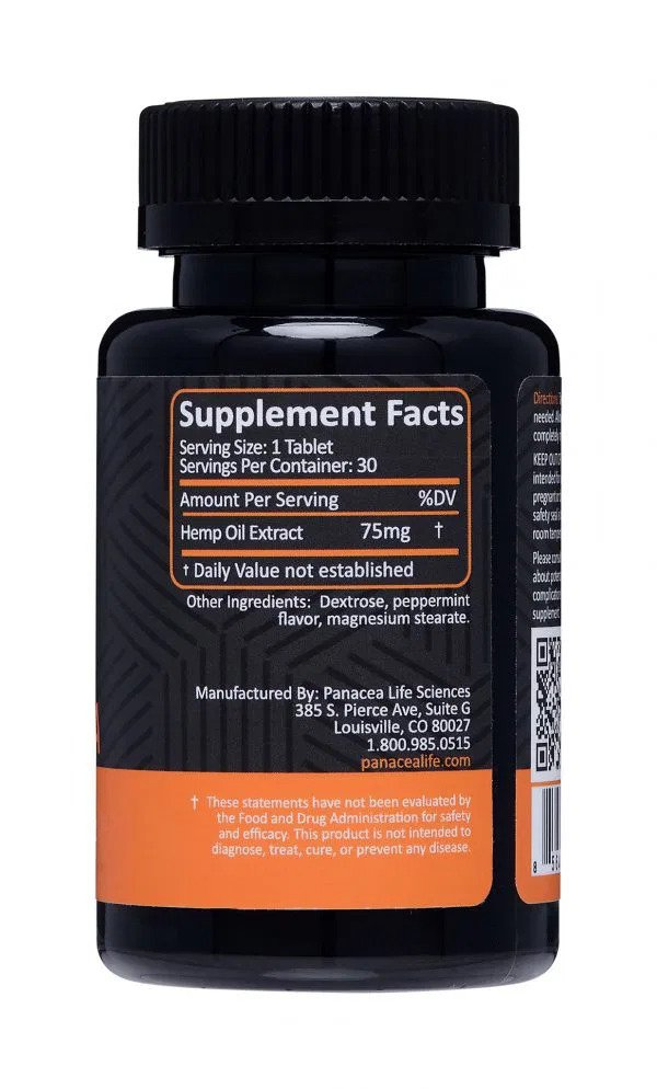 75mg FAST Sublingual CBD Tablets Supplement Facts