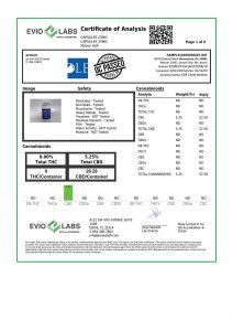 Isolate CBD Capsules 30 count 25mg COA pg1 | Proleve CBD