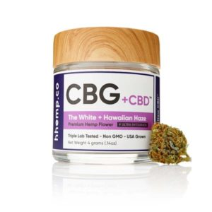 CBG+CBD Hawaiian Haze Flower by hhemp.co Photo of Jar with Bud on the Outside