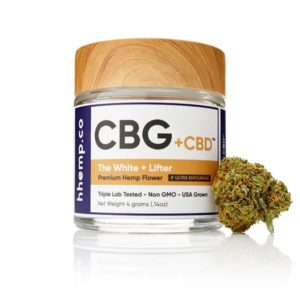 CBG+CBD Lifter Flower by hhemp.co Photo of Jar and Bud on the Outside