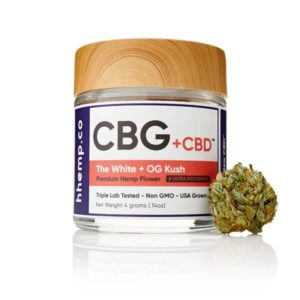 CBG+CBD OG Kush Flower by hhemp.co Photo of Jar and Bud on the Outside