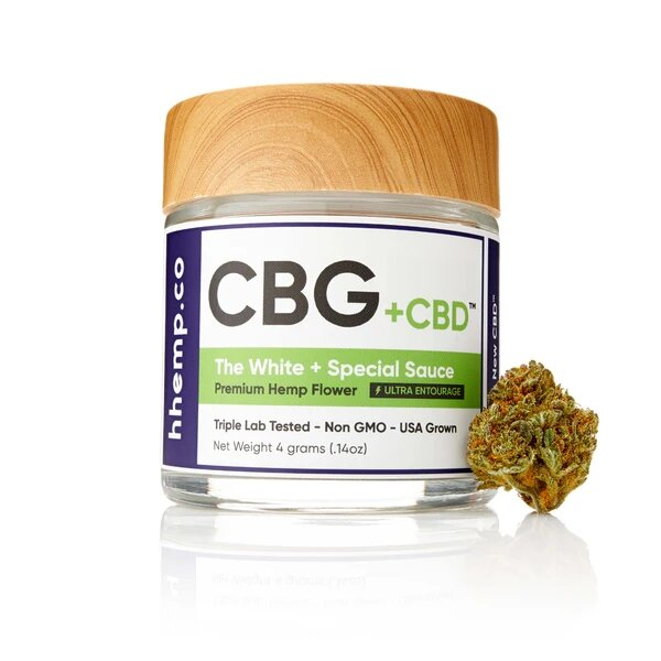 CBG+CBD Special Sauce Flower by hhemp.co Photo of Jar with Bud on the Outside