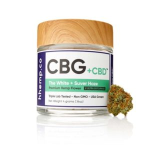 CBG+CBD Suver Haze Flower by hhemp.co Photo of Jar and Bud Outside the Jar