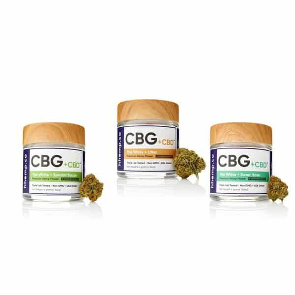 CBG and CBD Flower 3 Jar Lot 1 by hhemp.co | Photo of Special Sauce, Lifter, and Suver Haze 4 Gram Jars with Buds on the side of each jar
