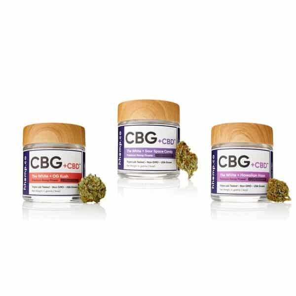 CBG and CBD Flower 3 Jar Lot 2 by hhemp.co | Photo of OG Kush, Hawaiian Haze, and Sour Space Candy 4 Gram Jars with buds on the side of each jar