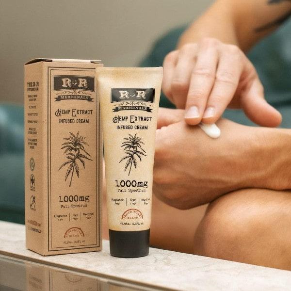 1000mg CBD Cream On Hand - R + R Medicinals