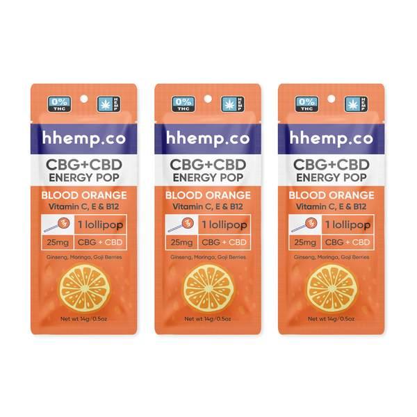 CBG+CBD Energy Lollipop - Blood Orange 3 Pack