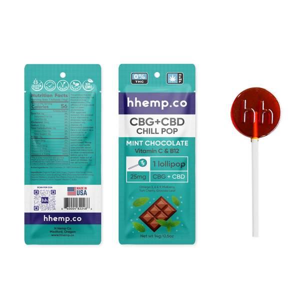 CBG+CBD Chill Lollipop - Mint Chocolate Single CBD Lollipop