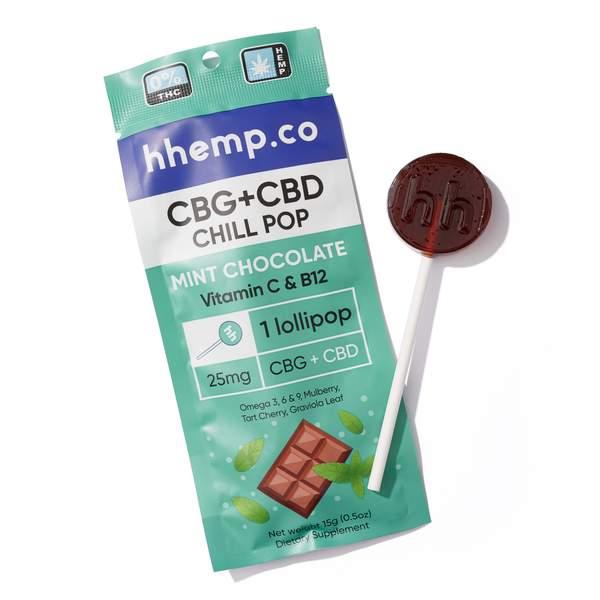 CBG+CBD Chill Lollipop - Mint Chocolate - Wrapper with Pop Outside It