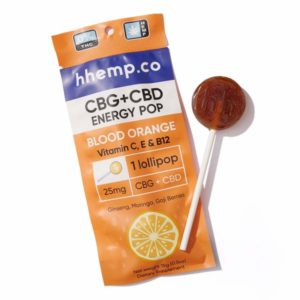 CBG+CBD Energy Lollipop - Blood Orange - Wrapper with Pop Outside It