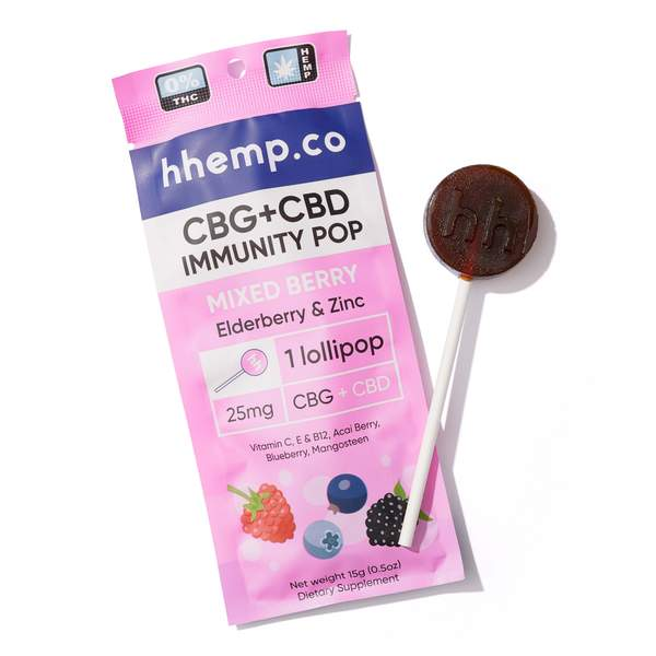CBG+CBD Immunity Lollipop - Mixed Berry - Wrapper with Pop Outside It