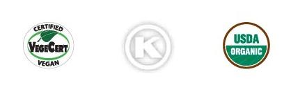 Certified Vegan CBD, Certified Kosher, and USDA Certified Organic CBD Icons