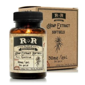R+R Medicinals CBD Softgels 30mg CBD Capsule Bottle out of Box