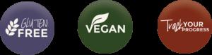CBDialed Gluten Free, Vegan, and Track Your Progress CBD Icons