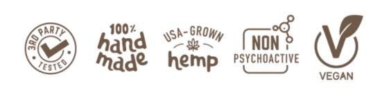 Lab Tested CBD, Handmade CBD, Made in the USA CBD, Non-Psychoactive CBD, and Vegan CBD Icons