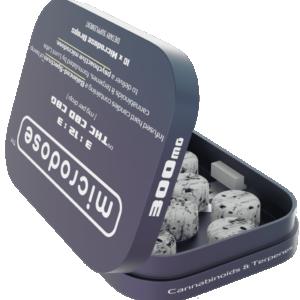 Microdose CBD Drops Hard Candies - CBD - THC - CBG Photo of Open Tin
