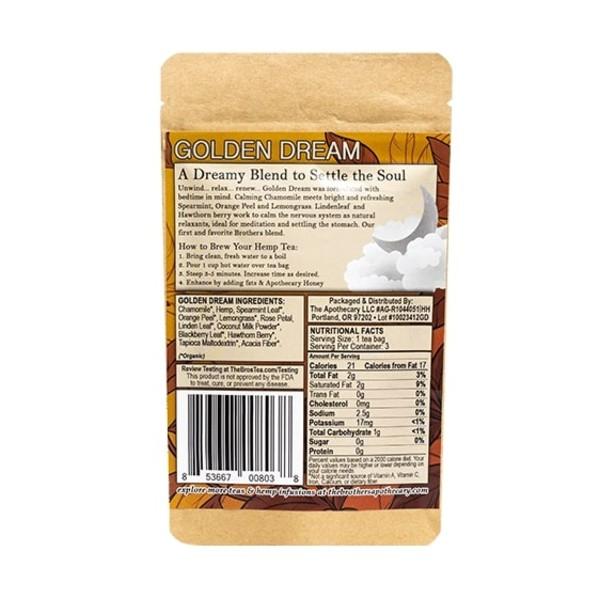 Organic Calming Chamomile CBD Tea - Golden Dream Photo of Back of 3 Pack Bag