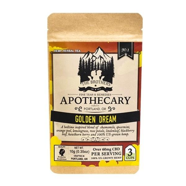 Organic Calming Chamomile CBD Tea - Golden Dream Photo of Front of 3 Pack Bag