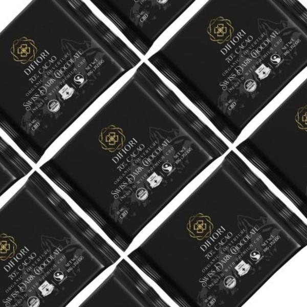 Difiori Organic Couverture CBD Decadent Swiss Dark Chocolate - 70% Cacao - 10 Count Bag Pieces