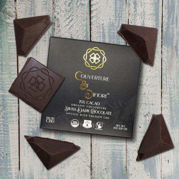 Difiori Organic Couverture CBD Decadent Swiss Dark Chocolate Bar - 70% Cacao - Chocolate Pieces