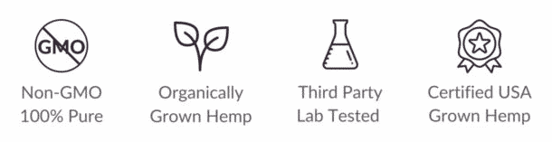 Non-GMO 100% Pure CBD, Organically Grown Hemp, Thrid Party Lab Tested CBD, and Certified USA Grown Hemp Icons
