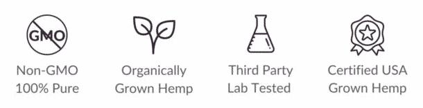 Non-GMO 100% Pure CBD, Organically Grown Hemp, Thrid Party Lab Tested CBD, and Certified USA Grown Hemp Icons