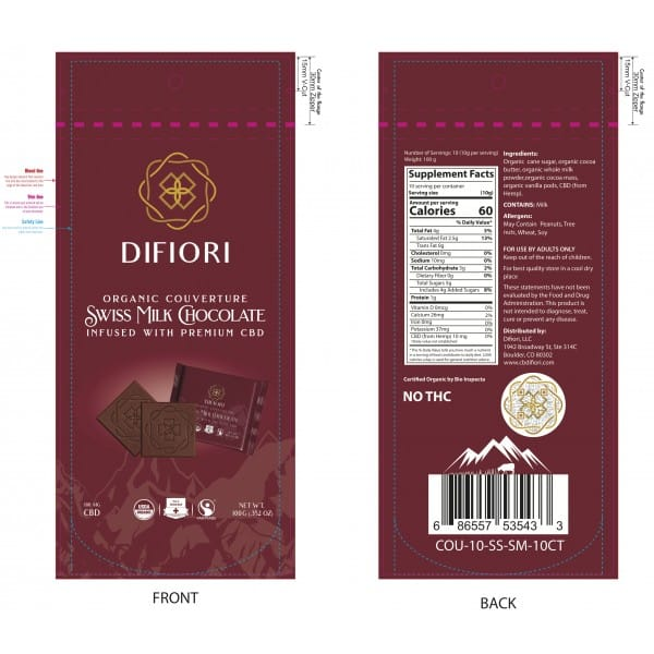 Organic Couverture CBD Swiss Milk Chocolate - 10 Ct Mini Chocolates - Front and Back of Bags