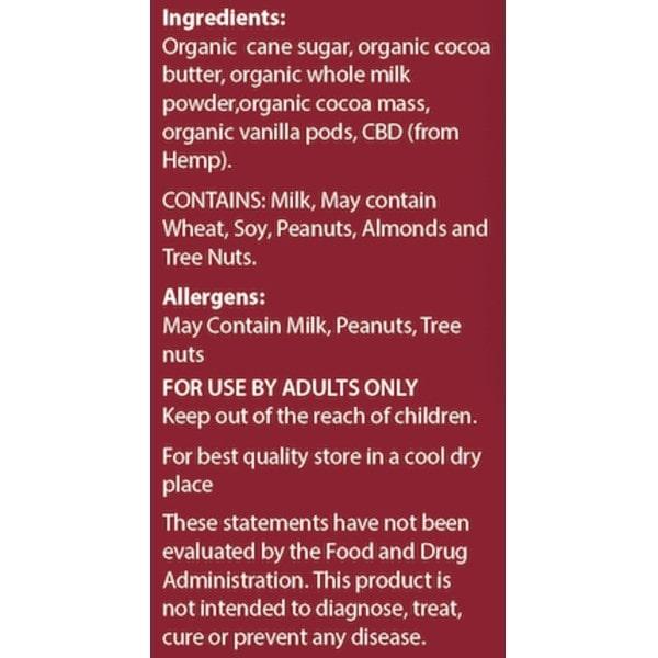 Organic Couverture CBD Swiss Milk Chocolate - 10 Ct Mini Chocolates - Ingredients