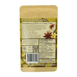 Chai Awakening CBD Tea - Organic Hemp Tea - Back of 3 Pack Bag