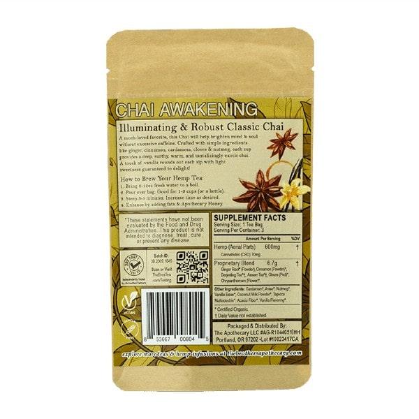 Chai Awakening CBD Tea - Organic Hemp Tea - Back of 3 Pack Bag