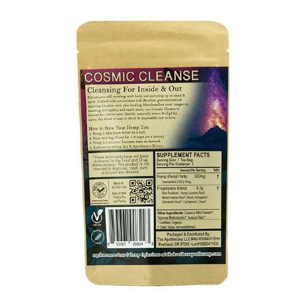 Cosmic Cleanse CBD Tea - Organic Hemp Tea - Back of 3 Pack Bag
