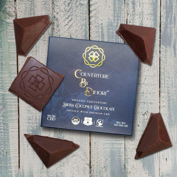 Difiori Organic Couverture CBD Swiss Coconut Dark Chocolate Bar - Chocolate Pieces