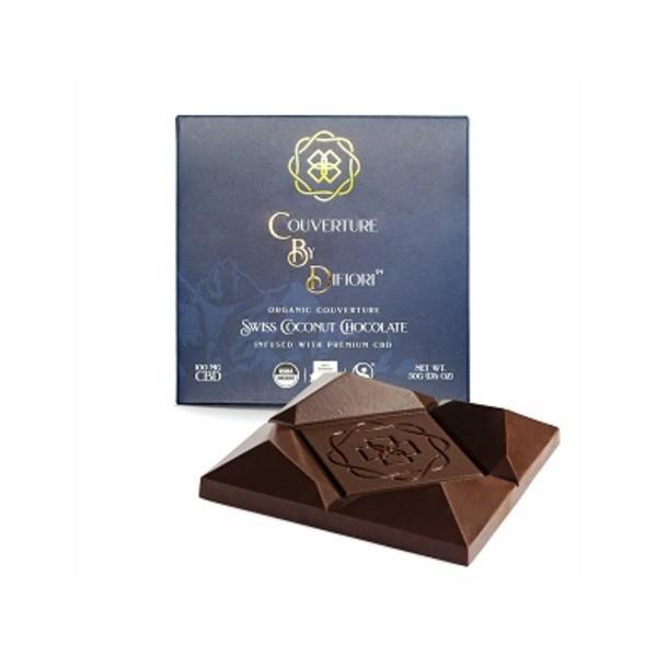 Difiori Organic Couverture CBD Decadent Swiss Coconut Dark Chocolate Bar