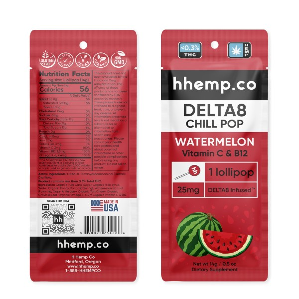 HH D8 Infused Watermelon Lollipop 25mg - 3 Pack