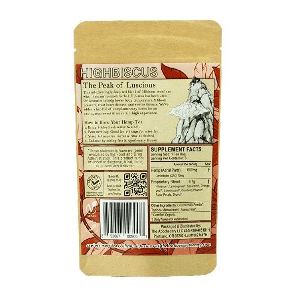 Highbiscus CBD Tea - Organic Hemp Tea - Back of 3 Pack Bag
