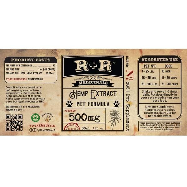 USDA Organic Pet CBD Oil Tincture - Full Spectrum - Product Label