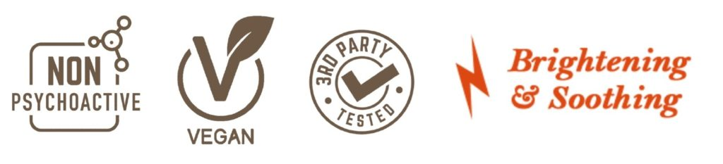 Vegan CBD, Non Psychoactive CBD, 3rd Party Lab Tested CBD, and Brightening & Soothing Icons