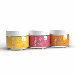 Hemplucid Vegan Delta 8 Gummies - 25mg - All 3 Jars Lined Up