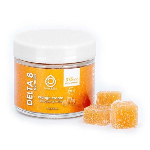 Hemplucid Vegan Delta 8 Gummies - 25mg Orange Cream with Gummies Outside