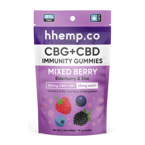 HH CBD and CBG Immunity Gummies - 25mg Mixed Berry 10 Pack