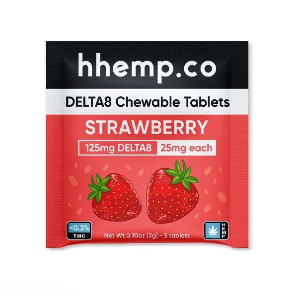 HH Delta 8 Chewables 25mg - Strawberry 5 Pack