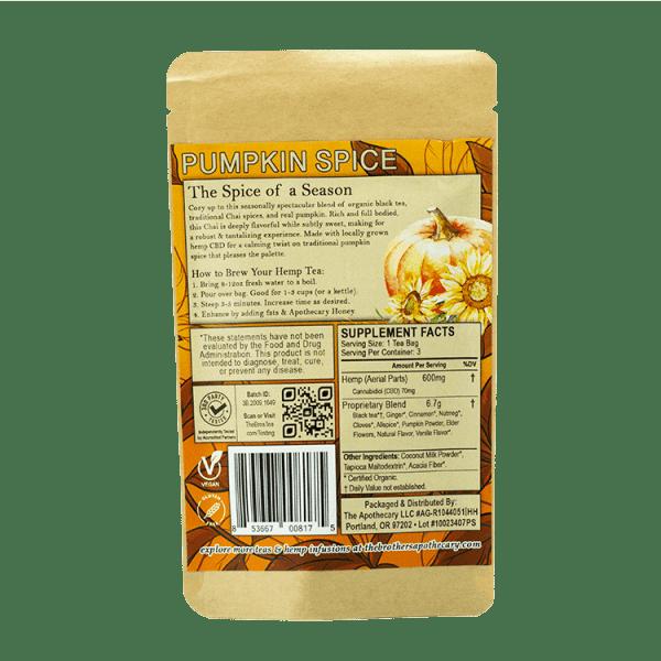 Pumpkin Spice Chai CBD Tea - Organic Hemp Tea - 3 Pack Back